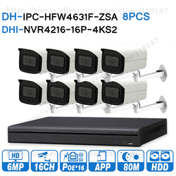 Dahua 6MP 16 + 8 bezpieczeństwa System CCTV 8 sztuk 6MP POE Zoom kamera IP IPC-HFW4631F-ZSA 16POE 4K NVR NVR4216-16P-4KS2 nadzoru zestawy