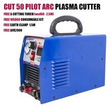 Plasmargon сила Реза 50 пилот дуга с ЧПУ плазменный резак AG60 110/220В,машина для резки с бесплатная комплект расходных материалов