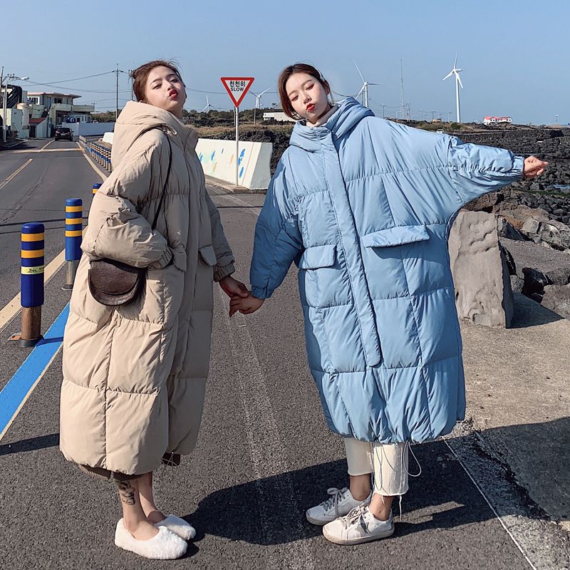 Invierno sobre la rodilla X long bat manga de algodón abrigo femenino suelto de gran tamaño chaqueta gruesa Chaqueta de algodón mullido f272