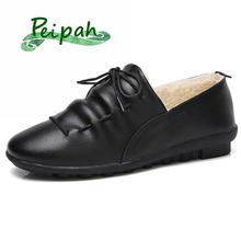 PEIPAH Genuine Leather Women Shoes Autumn Woman Flat Casual Female Shoes Rubber Ladies Lace-Up Flats Large Size Zapatos De Mujer
