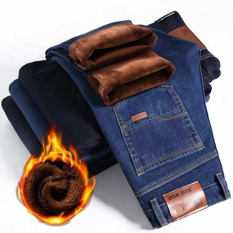 Winter Thermal Warm Flannel Stretch Jeans Mens Winter Quality Fleece Pants Men Straight Flocking Trousers Jean Male