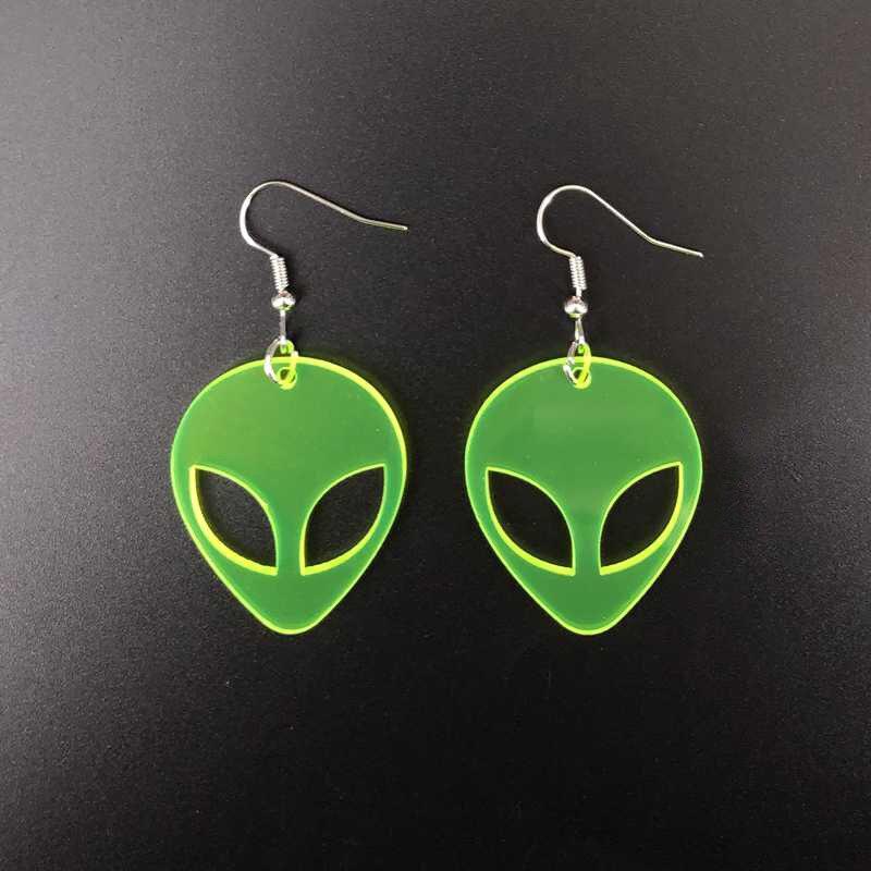 Преувеличенные прозрачные флуоресцентные зеленые акриловые серьги Alien для женщин Открытые Висячие серьги вечерние ювелирные изделия для н...