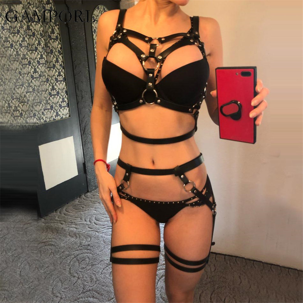 Sexy Women Harness Body Bondage Cage Leather Harness Belt Body Harness For Women 2 Pieces Garter Belt Suspender Leather Lingerie