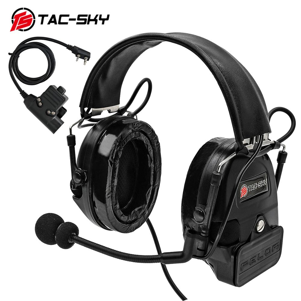 TAC-SKY COMTAC I Silicone Earmuffs Outdoor Hunting Sports Noise Reduction Pickups Military Tactical Headphones BK+U94PTT
