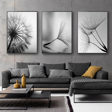 Dandelion Flower Canvas Painting Modern Black White Art Print Picture Home Decor Living Room Abstract Wall Poster(China)