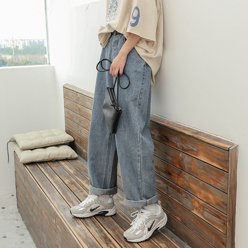 Denim Pants Chic High Waist Women Retro Harajuku Wide Leg Zipper Fly Akle-Length Jeans Pants Push Up Flare Trousers Streetwear 2