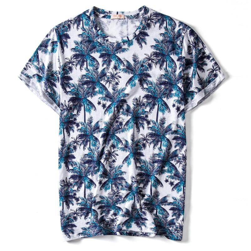 Summer 2020 New Design 100% Cotton Print T-shirt Men Casual Hawaii Style T Shirt O-neck Tshirt Men High-quality Male Tops Tees