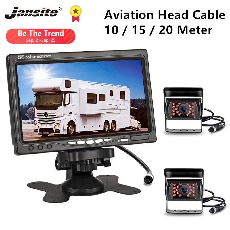 Jansite 7 ''HD voiture moniteur vue arrière caméra Aviation tête étanche 4 broches caméra pelle moissonneuse camion 12-24V inverse iamge