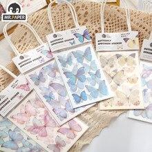 Mr.paper 6 estilos 3 pçs/saco borboleta série diário deco washi diário adesivos scrapbook diário rabiscar papelaria mão conta