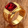 Обручальные кольца в стиле панк, хип-хоп, с гравировкой дракона, циркония, перстень, большой красный кристалл, для женщин и мужчин, модные юве...