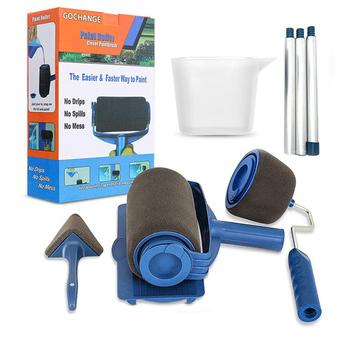 6-sztuka dekoracje ścienne wałek do farby zestaw pędzelków farby biegacz zestaw pędzelków wielofunkcyjny narzędzia gospodarstwa domowego zestaw wałek do farby biegacz tanie i dobre opinie CN (pochodzenie) Paint roller Multi-function DIY Paint Brush Roller PP+Sponge+Flocking+Steel Navy blue 31 5*23*10cm 5 8pcs paint runner roller brush handle tool