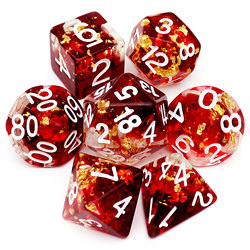 Haxtec Gold Foil DND Dice Set Resin Polyhedral Dice for Dungeons and Dragons RPG D&D Pathfinder
