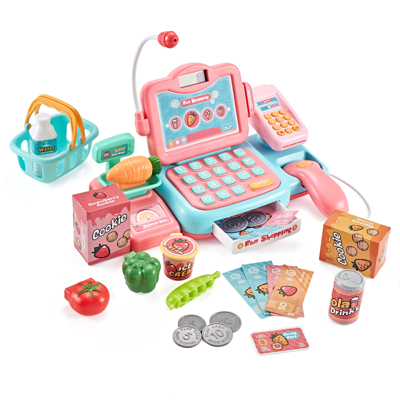 27Pcs Supermarket Checkout Counter Foods Goods Simulation Toys Kids Pretend Play Shopping Cash Register Set Toy For Girl's Gift