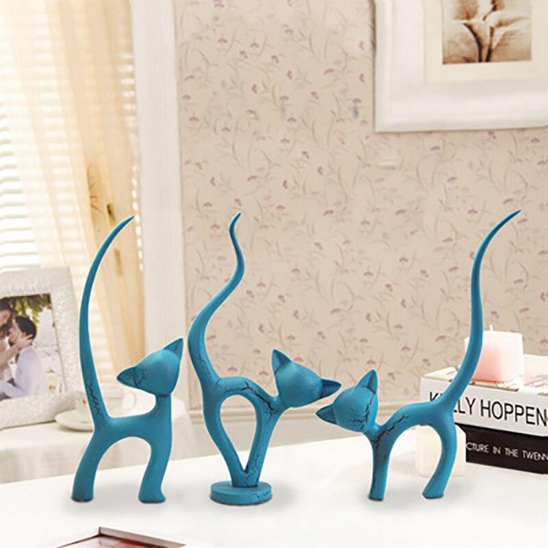 3 pièces moderne Simple chat modèle Figurine ornement résine artisanat artificiel rouge chat Miniature décor à la maison accessoires salon décor