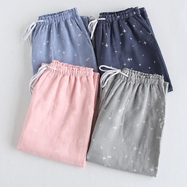 Autumn Pajamas Cotton Gauze Couples Home Pants Loose Printed Sleep Bottoms Japan Style Femme Pantalon Hombre Loungewear Pyjama