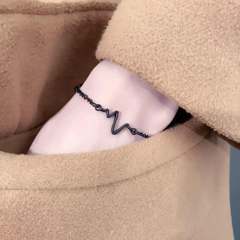 Prosty regulowany elektrokardiogram uroku bransoletki Trendy złoty kolor bransoletki bransoletki dla kobiet modna biżuteria na prezent