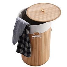 Barrel Type Bamboo Folding Laundry Baskets Body Home Bathroom with Cover Clothing Organizer Holder Large Storage Box
