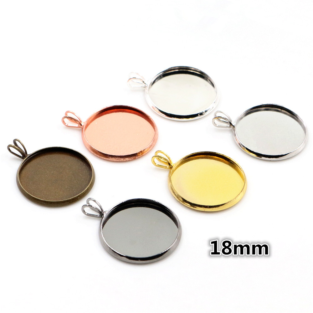 18mm 10pcs Brass Material 6 Colors Plated V Hanging Style Cameo Setting Base Cabochon Setting Connector High Quality
