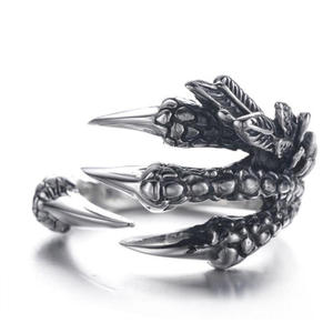 PICKYZ Men Rings Jewelry Punk Dragon Claws-Size Metal Silver Vintage Gothic Personality
