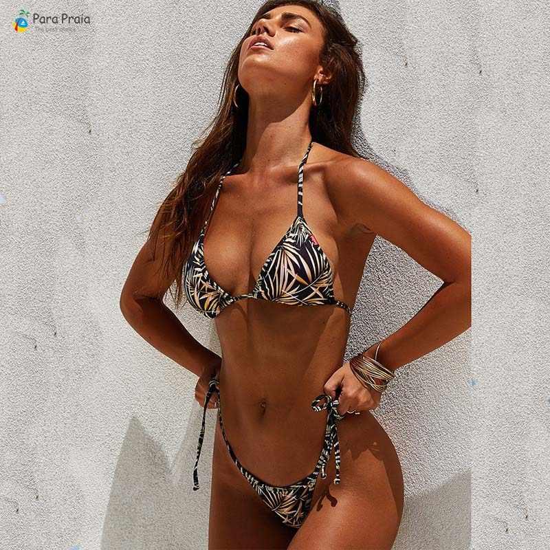 Сексуальный бразильский комплект бикини женский купальник, бретельки на шее купальник купальный костюм пуш-ап бикини-танга пляжная повязка бикини мини плавающий