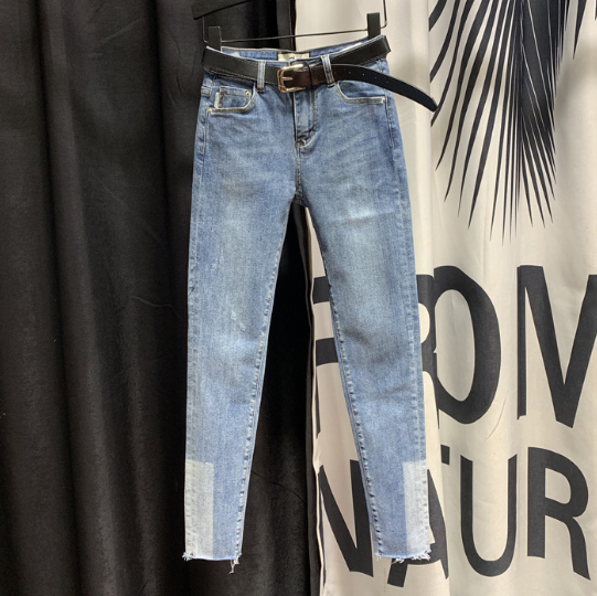 Simple Blue Jeans For Woman Personality Color Panel Pencil Pants 2020 Spring New Korean Fashion Pants Denim Jeans Jeansy Damskie