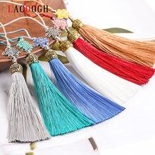Chinês nó borlas decorativa liga de poliéster borla franja de seda garniture diy borla encantos para cortina franja pingente decoração