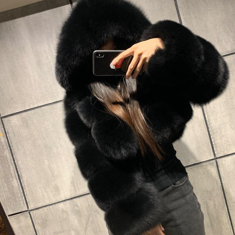 Ha1b70e0afacf496b86accc80bdade9c4u GAMPORL Fashion Winter High Quality Faux Fox Fur Coat Women Vintage Long Sleeve With Cap Slim Short Jackets Furry Coat Femme