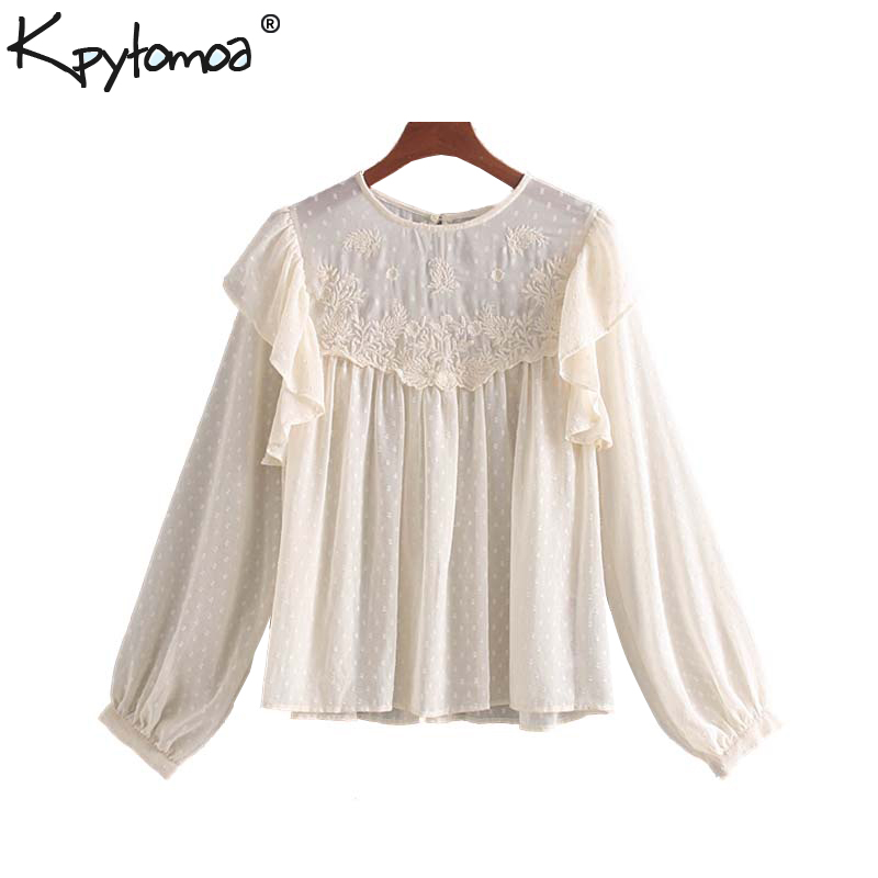 Vintage Sweet Embroidery Ruffles Chiffon Blouses Women 2020 Fashion O Neck Long Sleeve Office Wear Shirts Blusas Mujer Chic Tops