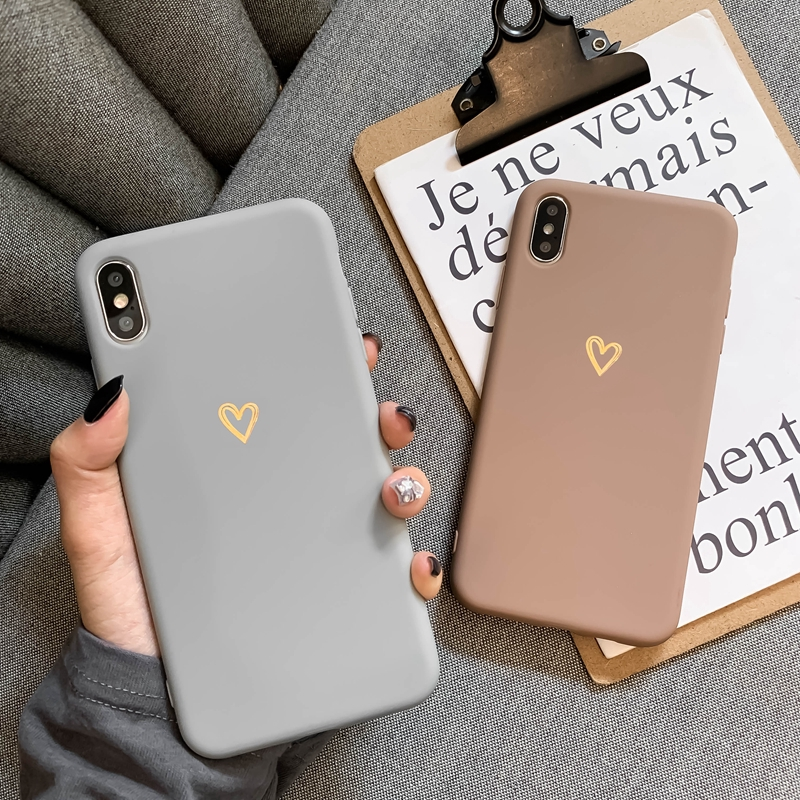 Silicone Phone soft Case For iPhone XR 7 8 Plus 11 Pro X XS Max 6 6s Fashion Cute Cartoon Gold Love transparent case for iphone