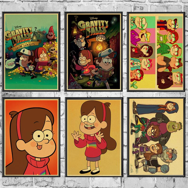 Vintage Retro Gravity Falls Cartoon Movie Posters Kraft Wall Paper High Quality Painting For Home/ Wall/Room/Bar Decor