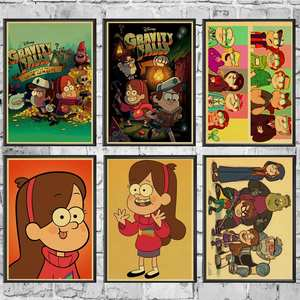 Movie Posters Painting Wall-Paper Gravity Falls Retro Room/bar-Decor Vintage Cartoon