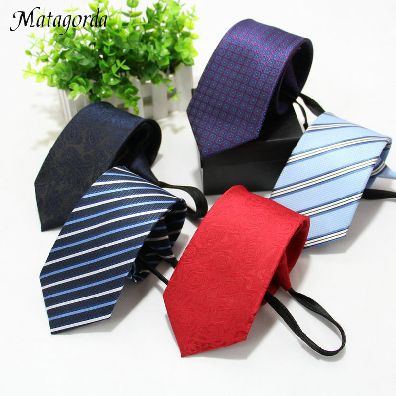 Matagorda 8cm Men Necktie Easy To Pull Zipper Tie Lazy Neck Tie Striped Neckwear Choker Dress Accessory Wedding Party Cravat