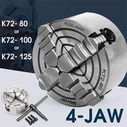 K72- 80/K72- 100/K72- 125 4 Jaw Lathe Chuck 80mm/100mm/125mm Independent 1pcs Safety Chuck Key 3pcs Mounting Bolt