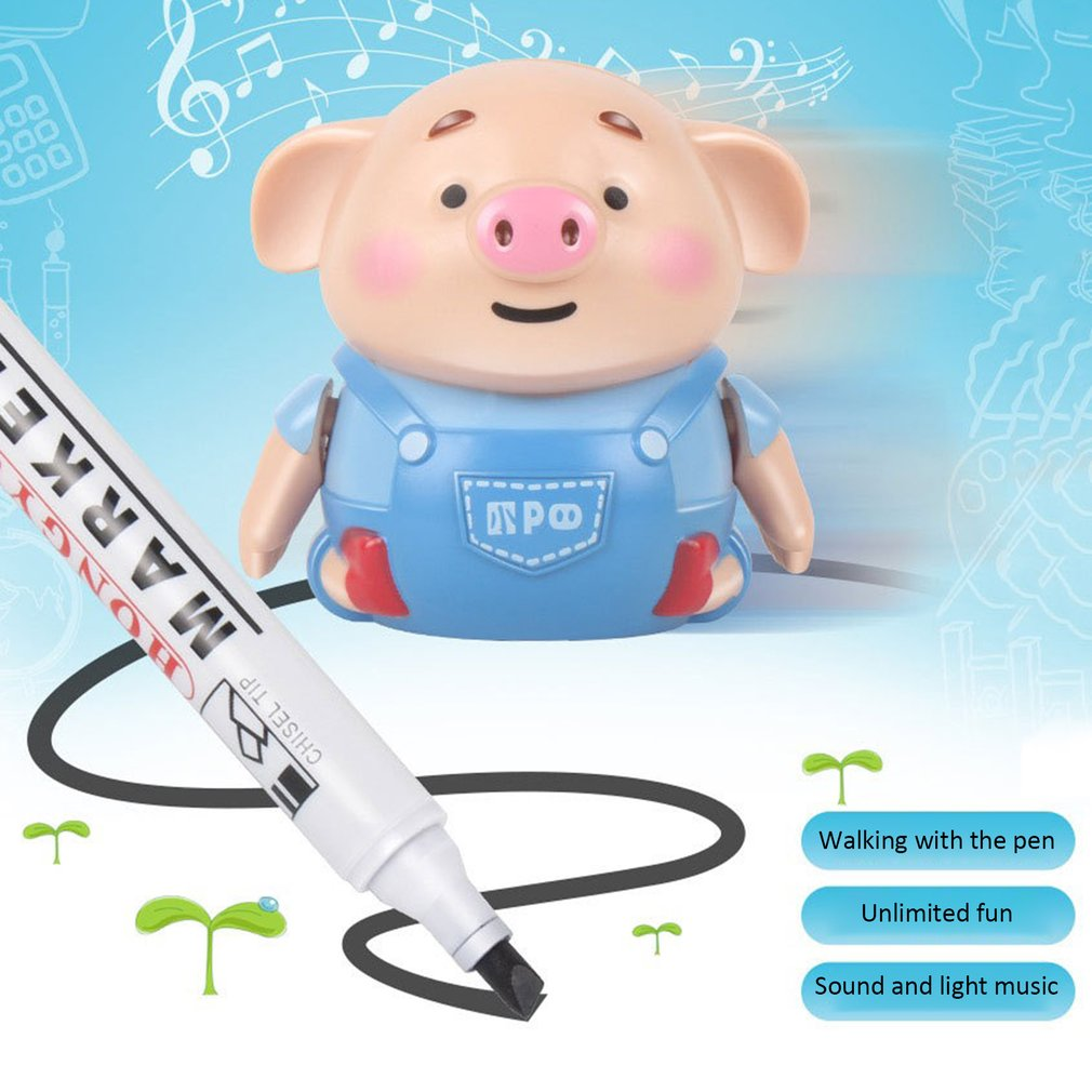 Mini Electrict Cute Pig Robot Pen Inductive Remote Radio Toy With Light Music Education Toy Improve Creativity And Imagination