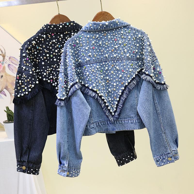 Осенние новые цветные женские джинсовые куртки с бусинами Harajuku, джинсовая куртка с длинными рукавами и жемчугом подростковые джинсы для девочек, пальто, верхняя одежда SA267S50