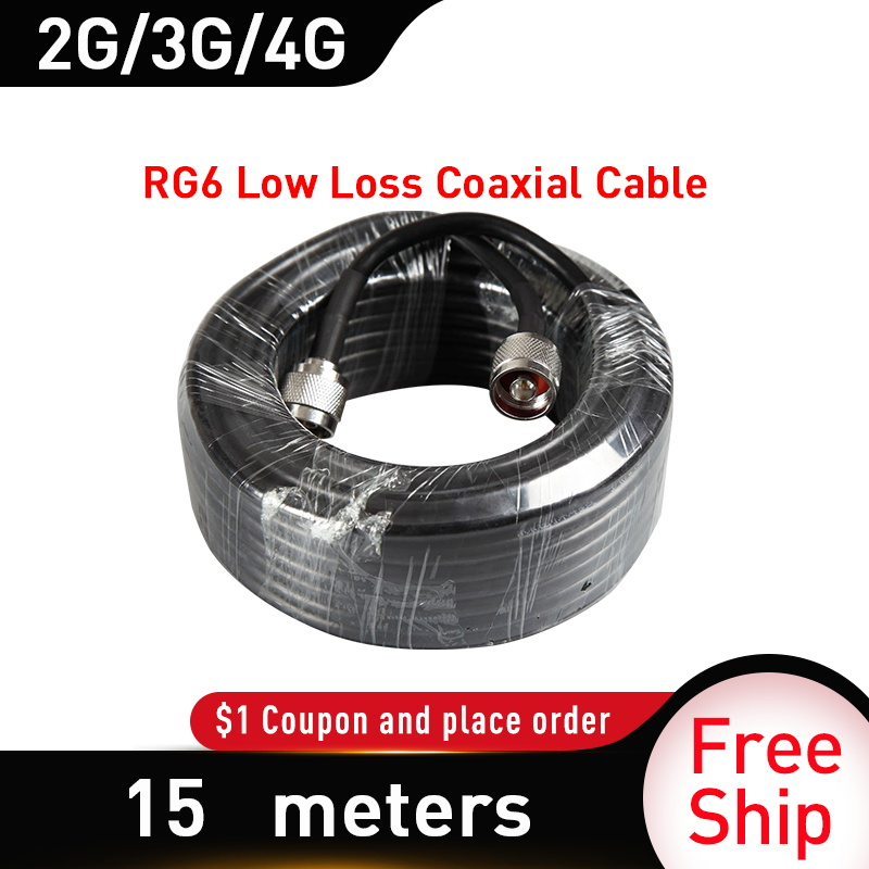 15 Meters Low Loss Coaxial Cable 50ohm-5D N Male To N Male Connector Cable For GSM LTE WCDMA 4G Mobile Phone Signal Booster