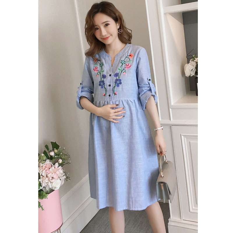 Autumn Bottom Pregnancy Dresses Embroidery Long Sleeve Maternity Dresses For Pregnant Women Clothes Maternity Mother Clothing