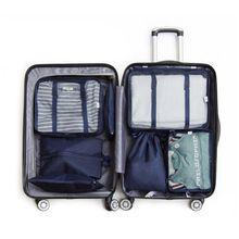 New 7pcs Men Women's Travel Bag Set Clothes Pouch Shoes Case Underwear Box Lunch Tote Cosmetics Organizer Traveling Accessories