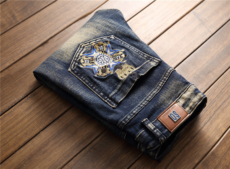 2019 AUTUMN Winter Men's Patchwork Ripped Embroidered Stretch Jeans Trendy Holes Straight Denim Trouers 63