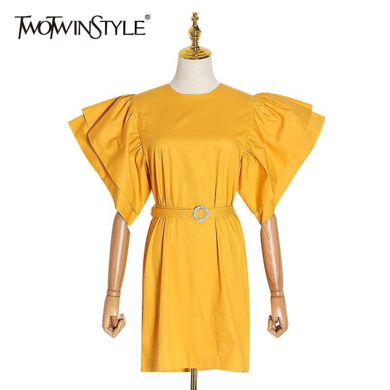 TWOTWINSTYLE Ruched Ruffle Dress For Women O Neck Puff Short Sleeve High Waist With Sashes Mini Female Dresses 2020 Autumn New