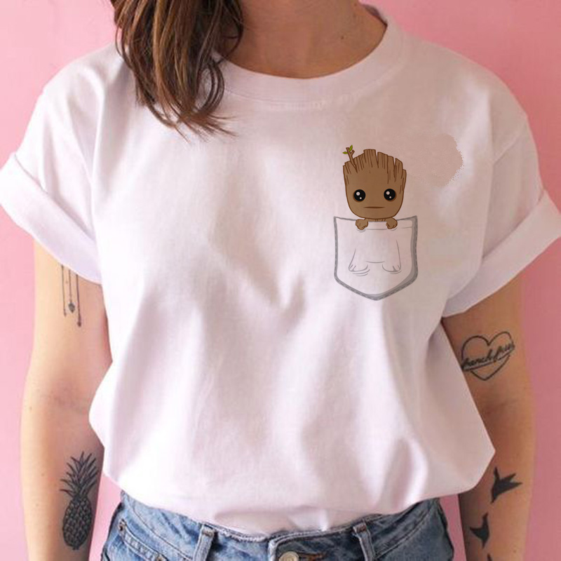Baby Groot T Shirt Women Funny Fashion 90s Cartoon Tshirt Female Clothing Japanese Harajuku Ulzzang T-shirt Top Tee Summer