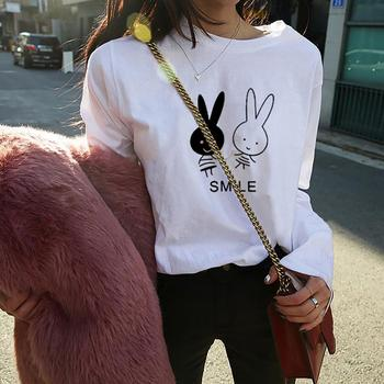 Cartoon Rabbit Smile Print O Neck Long Sleeve Loose Pullover Shirts Top T-Shirt women's T-shirts top