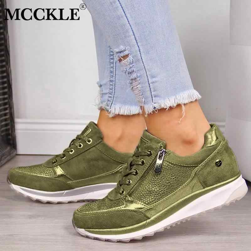 MCCKLE รองเท้าผ้าใบฤดูใบไม้ร่วง Lace Up Vulcanized รองเท้ารองเท้าผู้หญิงแพลตฟอร์มหญิง Sequined ผ้ารองเท้าผู้หญิงแบนรองเท้า