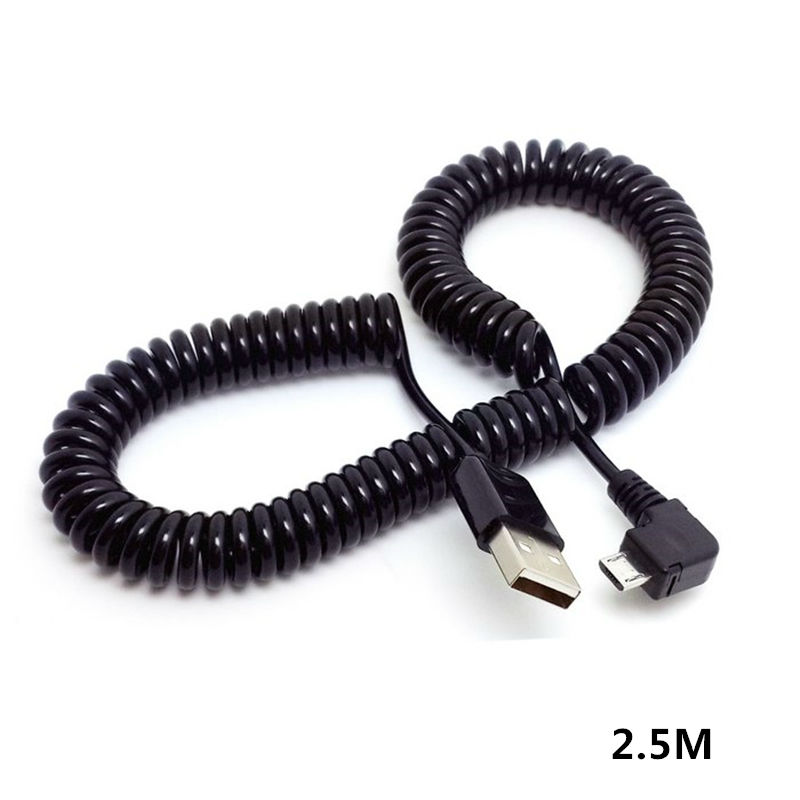 1M 3M 90 Degree Angle Elbow Micro USB Spring Spiral Coiled Retractable Data Charger Charging Cable For Samsung Andriod Phones
