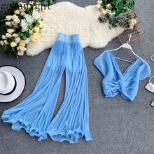 Gaganight Sexy Women Outfit Two Pieces Set Long Wide Leg Pan