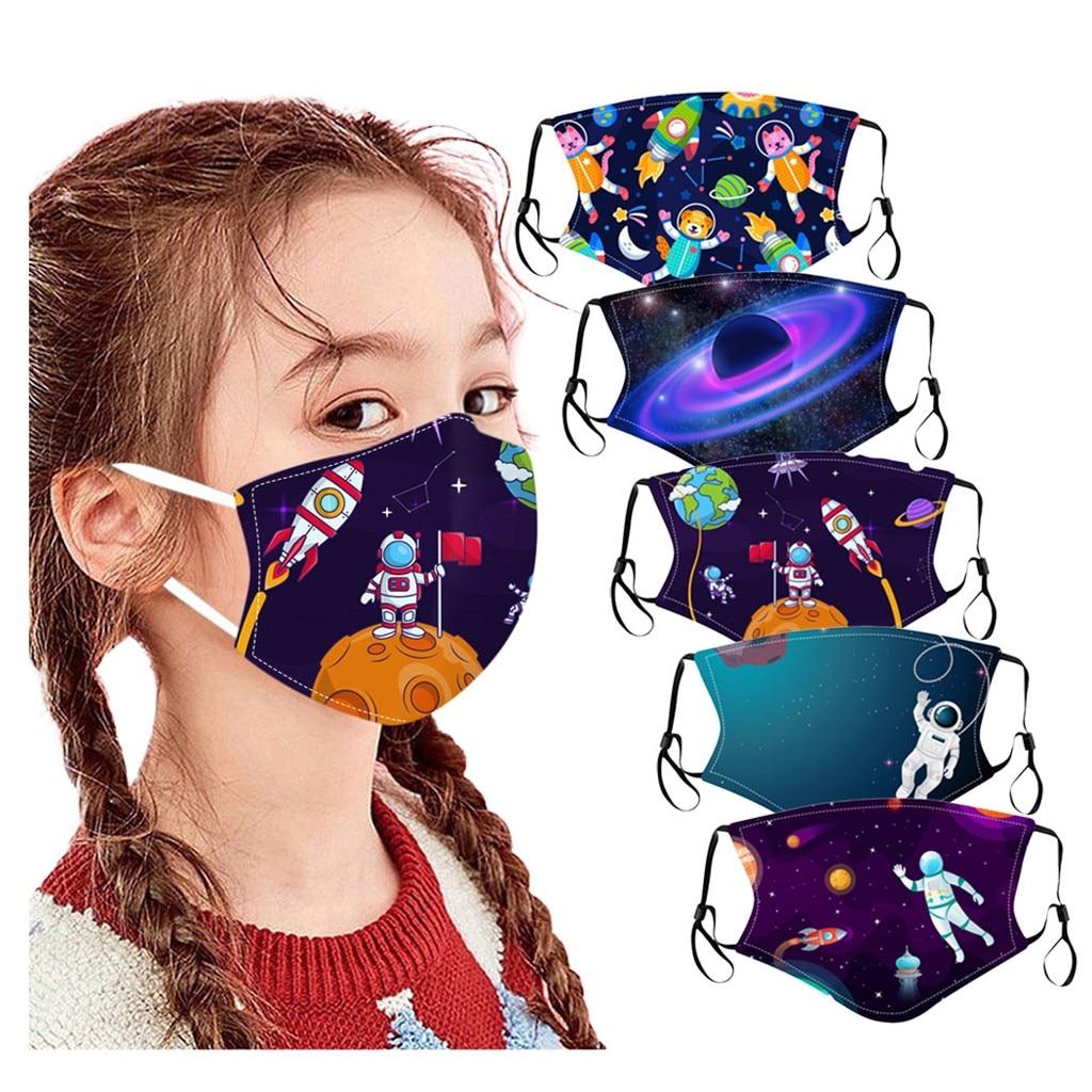Детская маска с принтом космоса планеты и астронавта Mascarilla моющаяся Удобная Солнцезащитная детская маска для лица модная маска