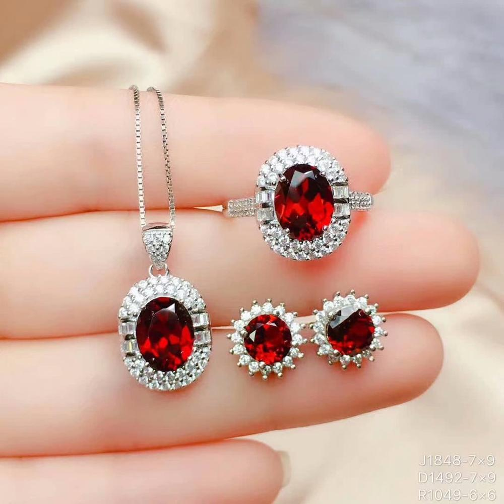 925 sterling silver real Natural garnet Jewelry Sets rings pendants earrings send necklace fine new women gift ctz07090606ags in Jewelry Sets from Jewelry Accessories