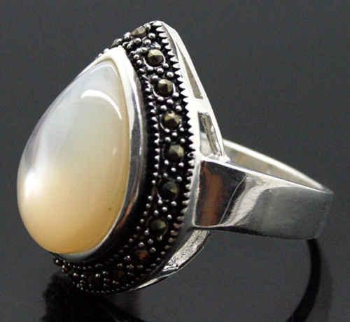 Unsex 25*20 มิลลิเมตรธรรมชาติสีขาวอัญมณี MARCASITE ขนาดแหวนเงิน 925 ขนาด 7/8/ 9/10