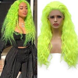 Fanxiton onda de água longa fluorescente perucas verdes para as mulheres peruca dianteira do laço sintético parte livre glueless rendas cosplay perucas