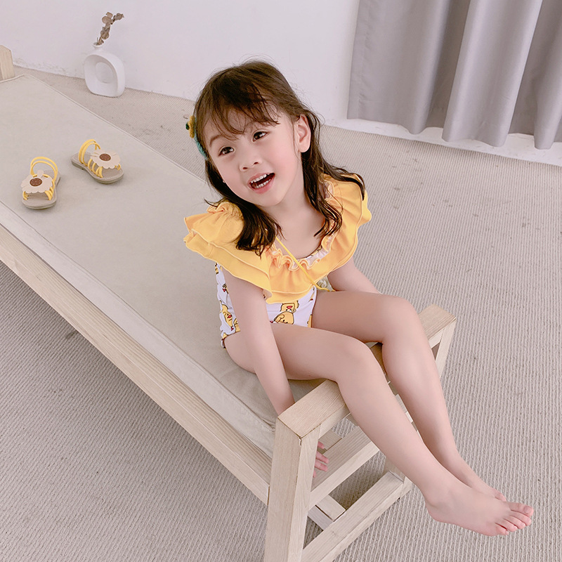 INS KID'S Swimwear Cute Girls One-piece Off-Shoulder Lace-up Yellow Pink Little Duck Holiday GIRL'S Swimsuit